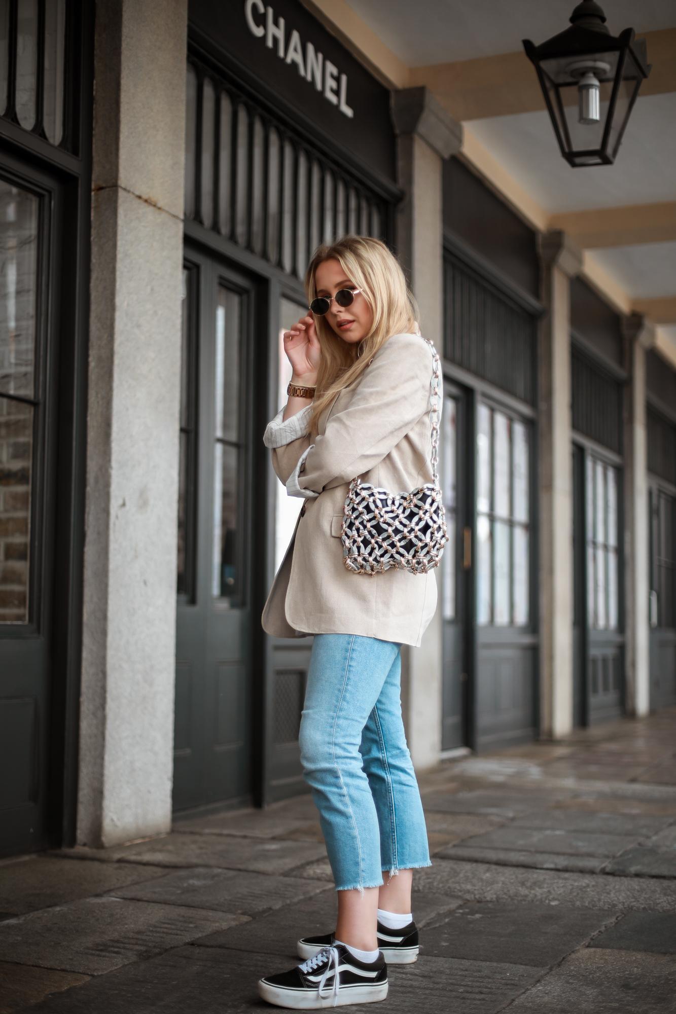 linen blazer straight leg jeans summer 18