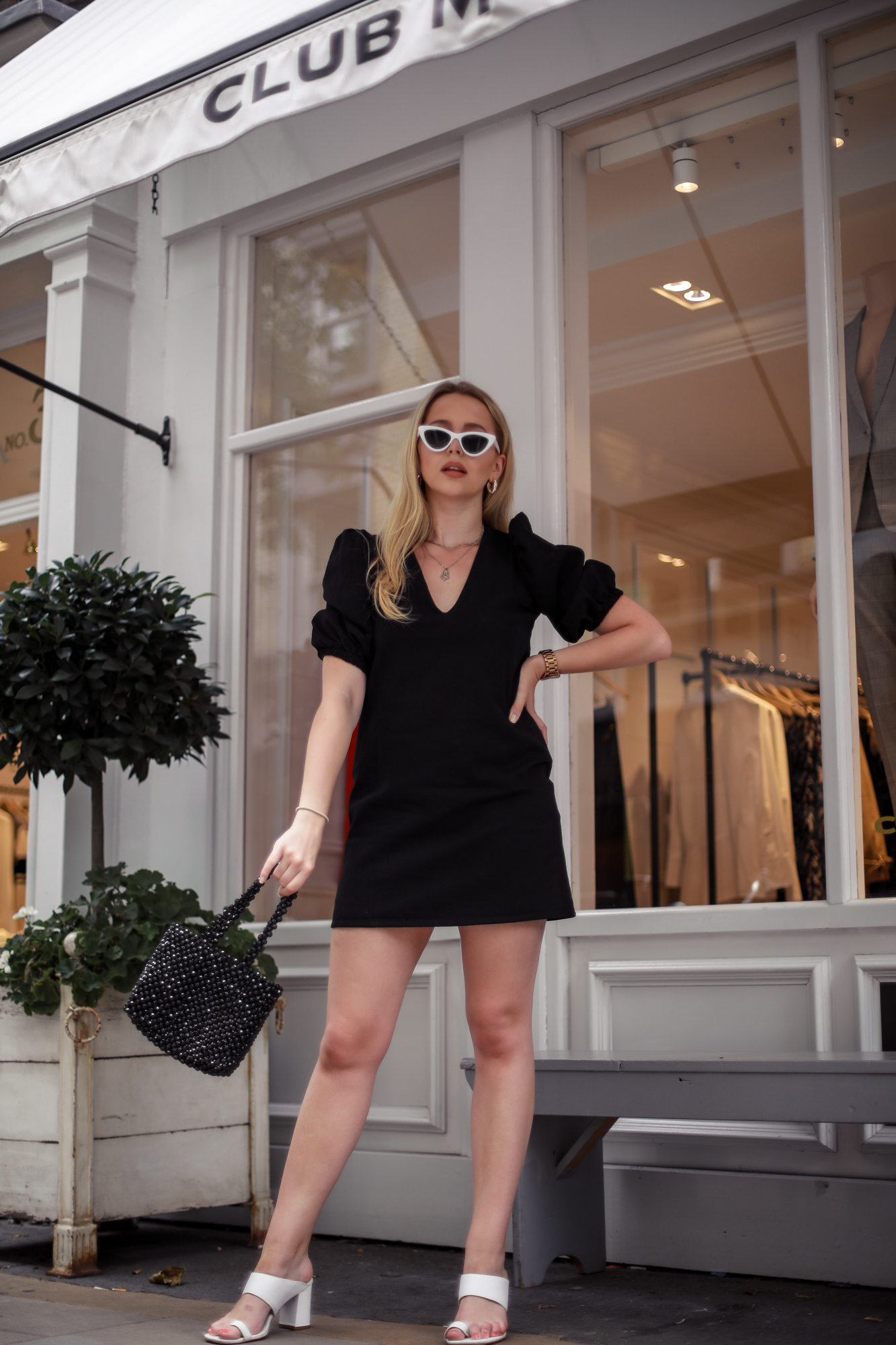 puff sleeve mini black dress zara