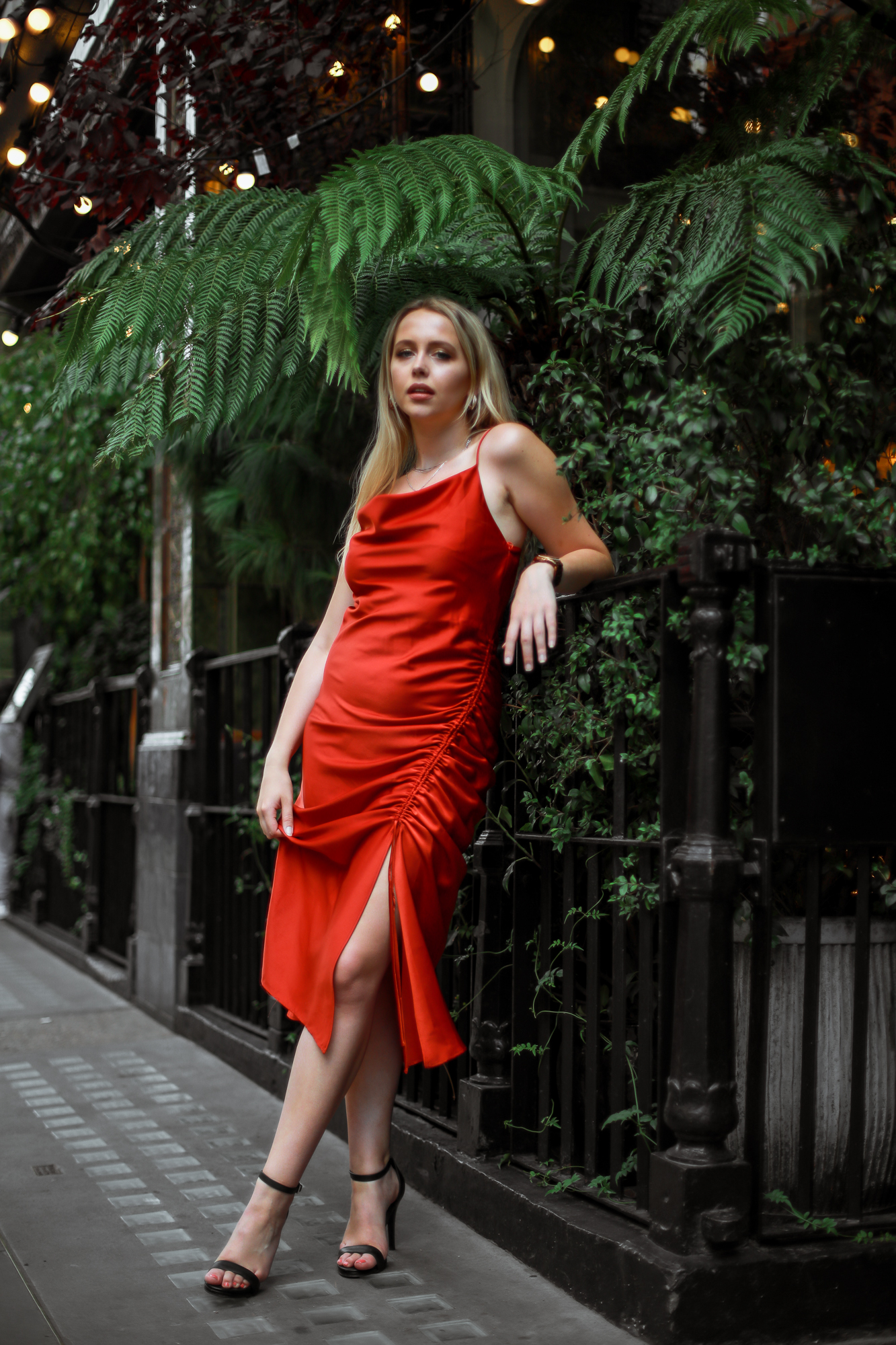 zara-orange-liquid-slip-dress-cowl-neck